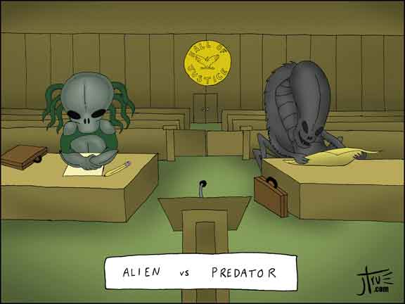 Alien vs Predator - Cartoon - law legal lawyer court jury trial litigation