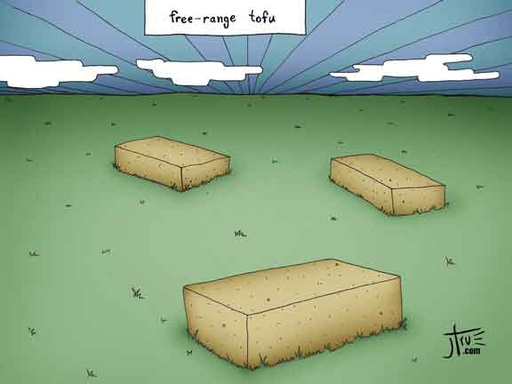 Free-Range Tofu - Cartoon - free-range tofu field sunset organic cruelty-free